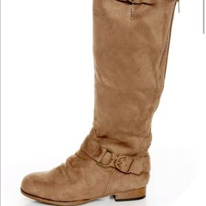 Lulu's Tosca 01A Taupe Knee High Riding Boots